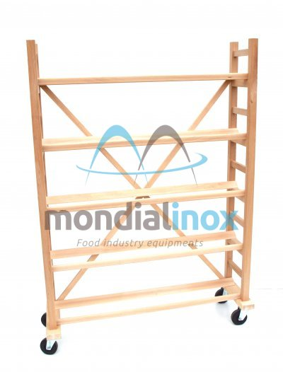 Double wood shelf for loafs with oblique laths