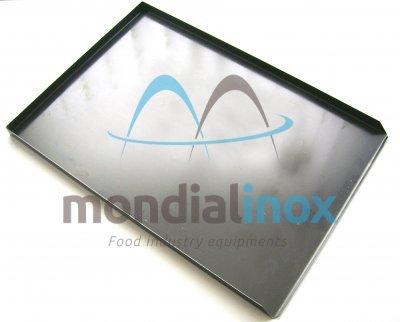 Black Baking tray, solid, 3 sided, side 90°