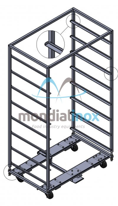Stainless Steel, Baking Trolleys for Heuft ovens, 100x65, 8 levels