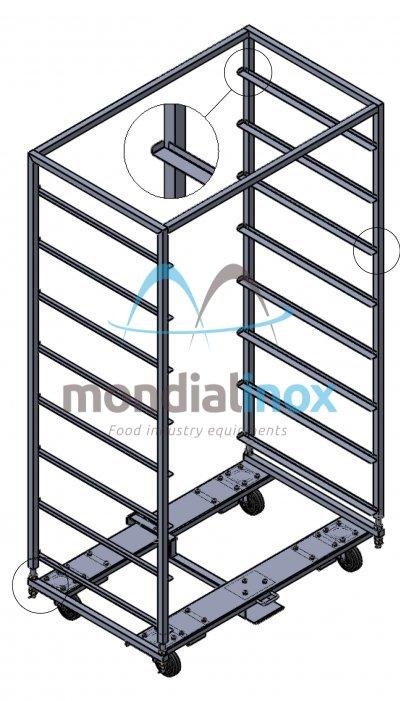 Chariot pour four rotatif Heuft, 100x65, 8 levels