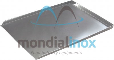 Stainless steel bent and welded display tray, 3-sided