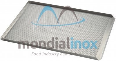 Baking tray, perforated 2 mm, 3 sided, side 90°