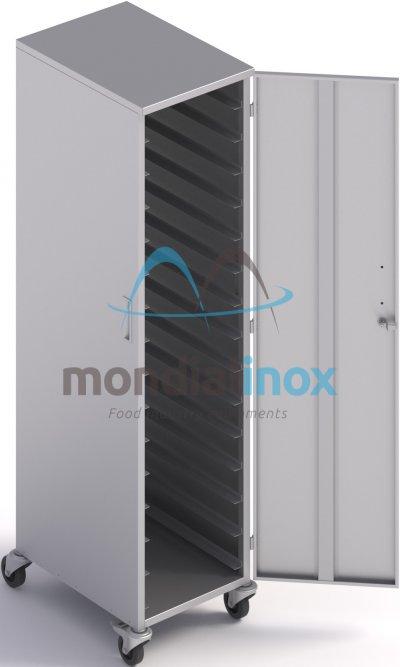 Rek inox gesloten voor platen 60x40cm 15 verdiepingen