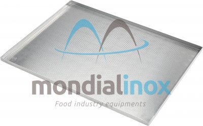 Baking tray, perforated 3 mm, 4 sided, side 90°