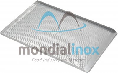 Baking tray, perforated 5 mm, 3 sided, side 90°
