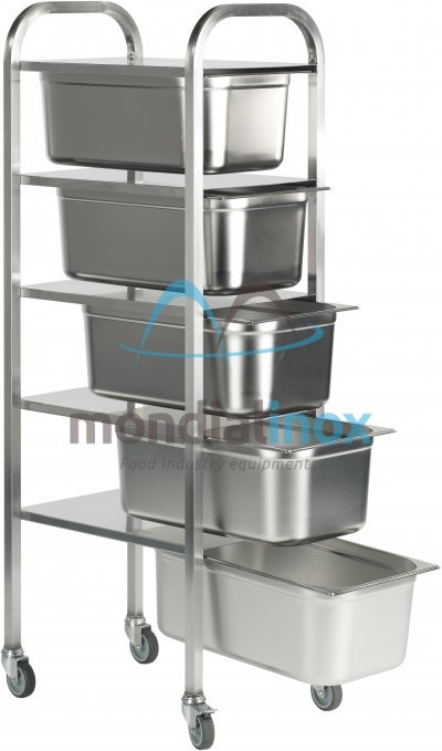 Stainless steel transport trolley for GN containers