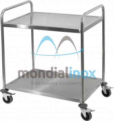 Stainless steel service trolley, 2 levels