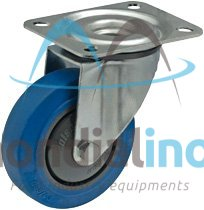 transport wheel set, with an assembly plate, made of zinc-coated steel, hole diameter : 9,6 mm