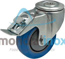 transport wheel set, with an assembly hole, made of zinc-coated steel, hole diameter: 12,3 mm