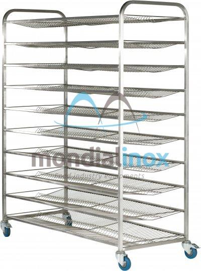 Stainless steel rack, for bread, type V