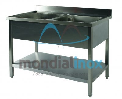 Stainless steel sink 2 sinks with undershelf bin 40x50xH27,5