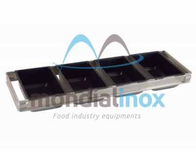 Assembly bread 4 moulds 17x11cm teflon ht 6 cm - 60cm entry trolley