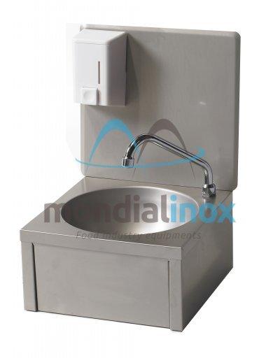 Round stainless steel washbasin hands-free