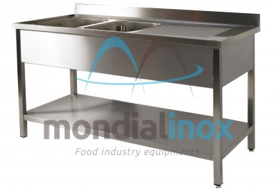 Stainless steel sink 2 sinks + draining board bin