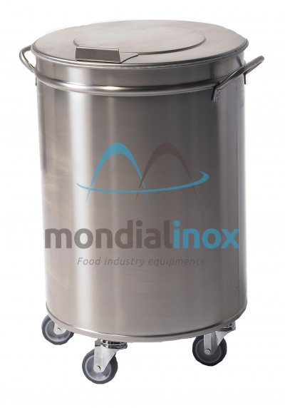 Stainless steel bin on wheels with pedal