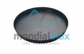 Taartvorm met rechte geribbelde rand 3cm, antiaanbaklaag