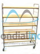 Shelf with laths wood double stainless steel