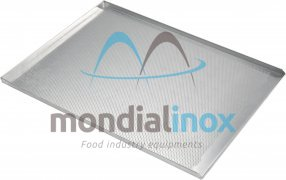 Baking tray, perforated 3 mm, 3 sided, side 3x90°