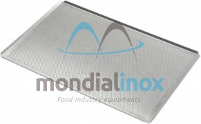 Baking tray, perforated 3 mm, 4 sided, side 45°