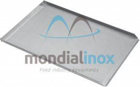 Baking tray, perforated 3 mm, 3 sided, side 90°