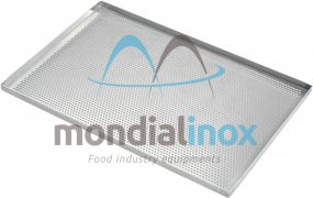 Baking tray, perforated 5 mm, 4 sided, side 90°