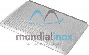 Aluminium bakplaten geperforeerde Ø 5mm, 4x45° 20/10 met silicone