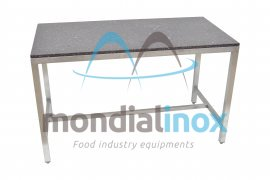 Stainless steel table with marble coating
