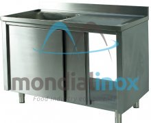 Stainless steel sink with sliding doors