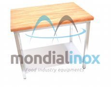 Stainless steel table with wood top