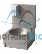 Round stainless steel washbasin hands-free