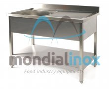 Stainless steel sink 1 sink + draining board bin